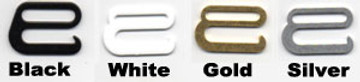 Side Release Hook choices, black, white, gold, silver, clear