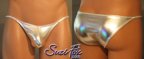 Mens Pouch Front, Skinny Strap, Rio Bikini - shown in Silver Metallic Foil Spandex, custom made by Suzi Fox. • Available in gold, silver, copper, gunmetal, turquoise, Royal blue, red, green, purple, fuchsia, black faux leather/rubber Metallic Foil or any fabric on this site. • Standard front height is 6 inches (15.24 cm). • Available in 4, 5, 6, 7, 8, 9, and 10 inch front heights. • Wear it as swimwear OR underwear! • Choose your pouch size! • Made in the U.S.A.