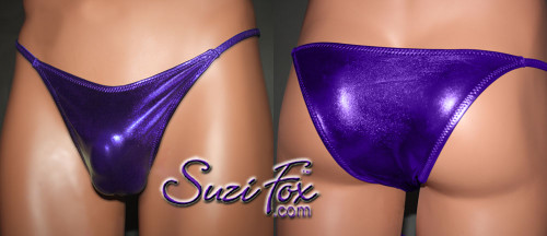Mens Smooth Front, Skinny Strap, Rio Bikini - shown in Purple Metallic Foil Spandex, custom made by Suzi Fox. • Available in gold, silver, copper, gunmetal, turquoise, Royal blue, red, green, purple, fuchsia, black faux leather/rubber Metallic Foil or any fabric on this site. • Standard front height is 7 inches (17.8 cm). • Available in 4, 5, 6, 7, 8, 9, and 10 inch front heights. • Wear it as swimwear OR underwear! • Made in the U.S.A.