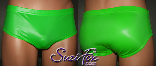 Mens Smooth Front, Brief Bikini , custom made by Suzi Fox - shown in Green Wet Look Lycra Spandex. Available in black, white, red, Navy blue, Royal blue, Hot Pink, Lime green, green, yellow, Neon Orange, turquoise, Steel Gray. Made in the U.S.A.