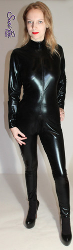 "Womens Catsuit shown in Black Faux Leather/Rubber metallic foil coated spandex, custom made by Suzi Fox.  You can order this Catsuit in almost any fabric on this site.  • Available in gold, silver, copper, royal blue, purple, turquoise, red, green, fuchsia, gun metal, black faux leather/rubber Metallic foil coated spandex. • Your choice of front or back zipper (front zipper shown). • Optional 1 or 2-slider crotch zipper, and ""Selene"" from Underworld TS Brass zipper, or aluminum circular slider zipper like Catwoman comic characters. • Optional wrist zippers • Optional ankle zippers • Optional finger loops • Optional rear patch pockets • Made in the U.S.A."