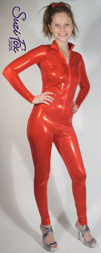 "Custom Catsuit by Suzi Fox shown in Red Metallic Mystique Nylon Spandex.  This fabric is tiny metallic foil dots bonded to 4-way stretch Spandex. You can order this Catsuit in almost any fabric on this site.  • Available in black, red, turquoise, green, purple, royal blue, hot pink/fuchsia, silver, copper, gold. • Your choice of front or back zipper (front zipper shown). • Optional 1 or 2-slider crotch zipper, and ""Selene"" from Underworld TS zipper, or aluminum circular slider zipper like Catwoman comic characters. • Optional wrist zippers • Optional ankle zippers • Optional finger loops • Optional rear patch pockets • Made in the U.S.A."
