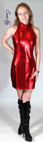 Open Shoulder Mini Dress in Red Metallic Foil Spandex by Suzi Fox. Zipper in the back. Choose any fabric on this site! Available in gold, silver, copper, gunmetal, turquoise, Royal blue, red, green, purple, fuchsia, black faux leather/rubber metallic foil coated nylon spandex. • Optional 2-slider zipper going the length of the dress, front or back, unzip from the top of the bottom! • Optional bust cutout. • Optional wrist zippers. Made in the U.S.A.
