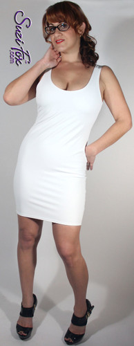 Tank Mini Dress in Matte White (no shine) Vinyl/PVC Spandex by Suzi Fox. Choose any fabric on this site! Available in matte black (no shine), matte white (no shine), gloss black, white, red, navy blue, royal blue, turquoise, purple, fuchsia, neon pink, light pink, stretch vinyl/PVC coated nylon spandex. • Optional 2-slider zipper going the length of the dress, front or back, unzip from the top of the bottom! Made in the U.S.A.
