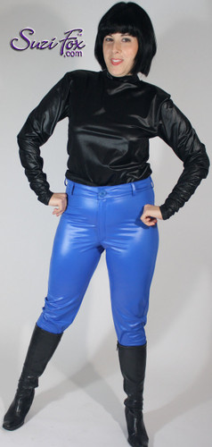 Womens Jean style Pants shown in Royal Blue Wet Look Lycra Spandex, custom made by Suzi Fox. • Choose any fabric on this site, including vinyl/PVC, metallic foil, metallic mystique, wetlook lycra Spandex, Milliskin Tricot Spandex. • Waistband, Button and front fly zipper. • Standard rear patch pockets. • Standard belt loops. • Optional ankle zippers. • Made in the U.S.A., Worldwide shipping.