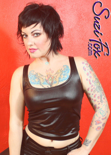 Tank Top shown in Black Wet Look Lycra Spandex, custom made by Suzi Fox. Custom made to your measurements! Available in Wet Look black, white, red, turquoise, navy blue, royal blue, hot pink, lime green, green, yellow, steel gray, neon orange, and any other fabric on this site. Made in the U.S.A.