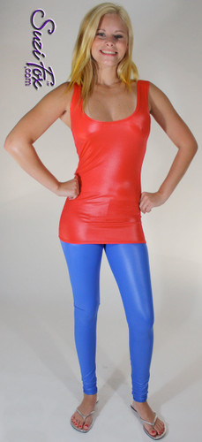 Tunic Length Tank Top shown in Red Wet Look Lycra Spandex, custom made by Suzi Fox. Custom made to your measurements! Available in Wet Look black, white, red, turquoise, navy blue, royal blue, hot pink, lime green, green, yellow, steel gray, neon orange, and any other fabric on this site. Made in the U.S.A.
