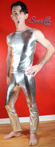 Mens Hiphugger Boot Cut Pants shown in Silver Metallic Foil coated Spandex, custom made by Suzi Fox. Custom made to your measurements! • Available in gold, silver, copper, gunmetal, turquoise, Royal blue, red, green, purple, fuchsia, black faux leather/rubber Metallic Foil and any fabric on this site. • 1 inch no-roll elastic at the waist. • Optional 1 or 2-slider crotch zipper. • Choose your ankle size - tight ankles, jean cut, boot cut, or bellbottom. • Optional ankle zippers. • Optional belt loops. • Optional rear patch pockets. Made in the U.S.A.