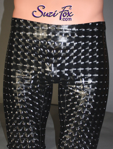 Mens Smooth Front Pants shown in Black 3D Prism Vinyl/PVC Spandex, custom made by Suzi Fox. Custom made to your measurements! • Available in black 3D Prism, red 3D Prism, Turquoise 3D Prism, Baby Blue 3D Prism, Hot Pink 3D Prism Vinyl; gloss black, white, red, navy blue, royal blue, turquoise, purple, Neon Pink, fuchsia, light pink; matte black (no shine), matte white (no shine), and any fabric on this site. • 1 inch no-roll elastic at the waist. • Choose your ankle size - tight ankles, jean cut, boot cut, or bellbottom. • Optional ankle zippers. • Optional belt loops. • Optional rear patch pockets. Made in the U.S.A.
