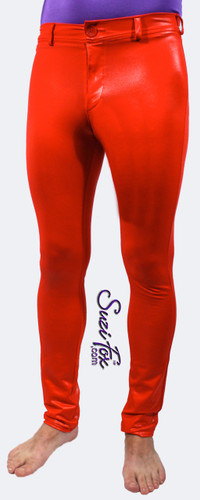 Mens Jean style Pants shown in Red Wetlook Lycra Spandex, custom made by Suzi Fox. Custom made to your measurements! • Available in black, white, red, turquoise, navy blue, royal blue, hot pink, lime green, green, yellow, steel gray, neon orange Wet Look and any fabric on this site. • Fly front zipper and waistband. • Choose your ankle size - tight ankles, jean cut, boot cut, or bellbottom. • Optional ankle zippers. • Optional belt loops. • Optional rear patch pockets. Made in the U.S.A.