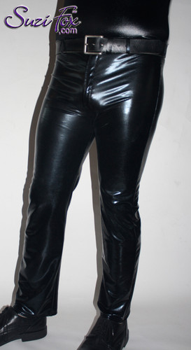 Mens Jean style Pants shown in Black Metallic (Faux Leather) Spandex, custom made by Suzi Fox. Custom made to your measurements! • Available in gold, silver, copper, gunmetal, turquoise, Royal blue, red, green, purple, fuchsia, black faux leather/rubber Metallic Foil and any fabric on this site. • Fly front zipper and waistband. • Choose your ankle size - tight ankles, jean cut, boot cut, or bellbottom. • Optional ankle zippers. • Optional belt loops. • Optional rear patch pockets. Made in the U.S.A.