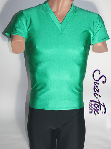 Mens V Neck Tee Shirt shown in Green Milliskin Tricot Spandex, custom made by Suzi Fox. • Available in black, white, red, royal blue, sky blue, turquoise, purple, green, neon green, hunter green, neon pink, neon orange, athletic gold, lemon yellow, steel gray Miilliskin Tricot spandex, and any fabric on this site. • Choose your sleeve length. • Give us your measurements for a custom fit! • Standard length is 24 inches (61 cm) for sizes XXXS-Medium; 27 inches (68.6 cm) for sizes Large and up. • Optional add extra length to the shirt. • Made in the U.S.A.