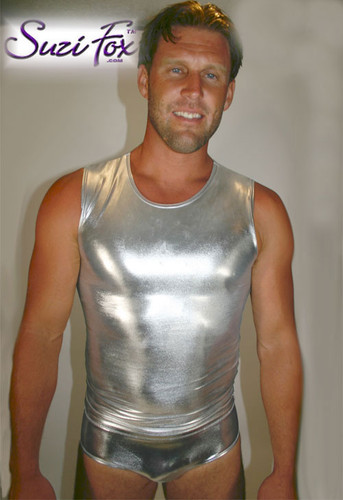 Mens Muscle Tee Shirt shown in Silver Metallic Foil Spandex, custom made by Suzi Fox. • Available in gold, silver, copper, gunmetal, turquoise, Royal blue, red, green, purple, fuchsia, black faux leather/rubber Metallic Foil, and any fabric on this site. • Give us your measurements for a custom fit! • Standard length is 24 inches (61 cm) for sizes XXXS-Medium; 27 inches (68.6 cm) for sizes Large and up. • Optional add extra length to the shirt. • Made in the U.S.A.