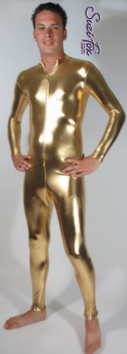 Mens Catsuit shown in Gold Metallic Foil Spandex, with optional invisible crotch zipper, custom made by Suzi Fox. • Available in gold, silver, copper, gunmetal, turquoise, Royal blue, red, green, purple, fuchsia, black faux leather/rubber Metallic Foil, and any fabric on this site. • Your choice of front or back zipper (front zipper shown). • Optional 1 or 2-slider crotch zipper. • Optional wrist zippers • Optional ankle zippers • Optional finger loops • Made in the U.S.A.