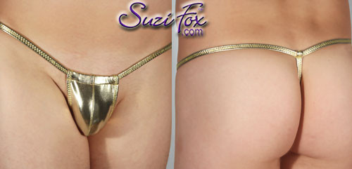 Men's Adjustable Pouch G-String thong - shown in Gold Metallic Foil Spandex, custom made by Suzi Fox. • Available in gold, silver, copper, gunmetal, turquoise, Royal blue, red, green, purple, fuchsia, black faux leather/rubber Metallic Foil or any fabric on this site. • Standard front height is 5 inches (12.7 cm) tall. • Available in 4, 5, 6, 7, 8, 9, and 10 inch front heights. • Choose your pouch size! • Wear it as swimwear OR underwear! Made in the U.S.A.