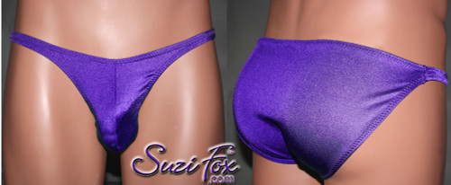Mens Pouch Front, Wide Strap, Full Rear Bikini - shown in Purple Milliskin Tricot Spandex, custom made by Suzi Fox. • Available in black, white, red, royal blue, sky blue, turquoise, purple, green, neon green, hunter green, neon pink, neon orange, athletic gold, lemon yellow, steel gray Miilliskin Tricot spandex or any fabric on this site. • Standard front height is 7 inches (17.8 cm). • Available in 4, 5, 6, 7, 8, 9, and 10 inch front heights. • Wear it as swimwear OR underwear! • Made in the U.S.A.