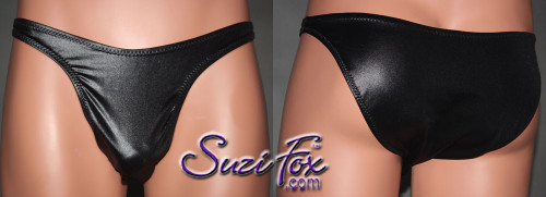 Mens Smooth Front, Wide Strap, Brazilian Bikini - shown in Black Wetlook Lycra Spandex, custom made by Suzi Fox. • Available in black, white, red, turquoise, navy blue, royal blue, hot pink, lime green, green, yellow, steel gray, neon orange Wet Look or any fabric on this site. • Standard front height is 9 inches (22.9 cm). • Available in 4, 5, 6, 7, 8, 9, and 10 inch front heights. • Wear it as swimwear OR underwear! • Made in the U.S.A.