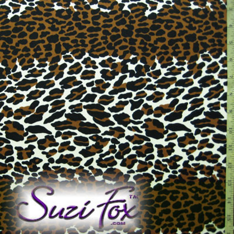 Fabric AP-9103 Leopard Print. Four Way Stretch Nylon Spandex (per yard price) 80% Nylon, 20% Spandex, Fabric has a Wet Look type feel, glisten and shine. The darker browns are copper color. Hand wash inside out in cold water, line dry. Iron inside out on low heat. Do not bleach.