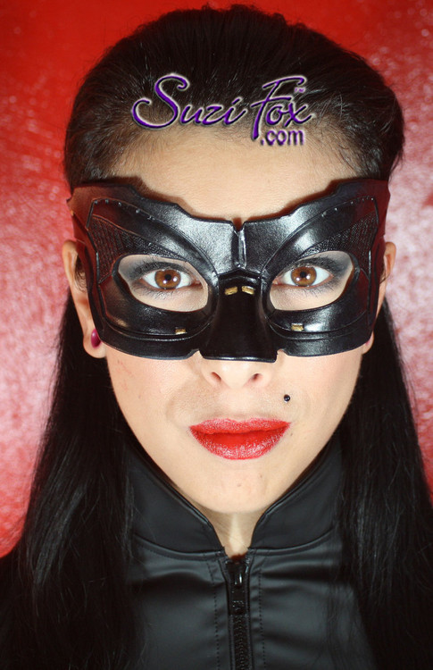 Handcrafted Leather DKR Catwoman mask. An elastic strap with an adjustable triglide buckle makes it easy and comfortable to wear.