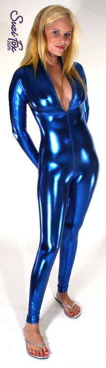 "Custom Catsuit by Suzi Fox shown in Royal Blue metallic foil coated Nylon Spandex.  You can order this Catsuit in almost any fabric on this site.  • Available in gold, silver, copper, royal blue, purple, turquoise, red, green, fuchsia, gun metal, black faux leather/rubber Metallic foil coated spandex. • Your choice of front or back zipper (front zipper shown). • Optional 1 or 2-slider crotch zipper, and ""Selene"" from Underworld TS Brass zipper, or aluminum circular slider zipper like Catwoman comic characters. • Optional wrist zippers • Optional ankle zippers • Optional finger loops • Optional rear patch pockets • Made in the U.S.A."