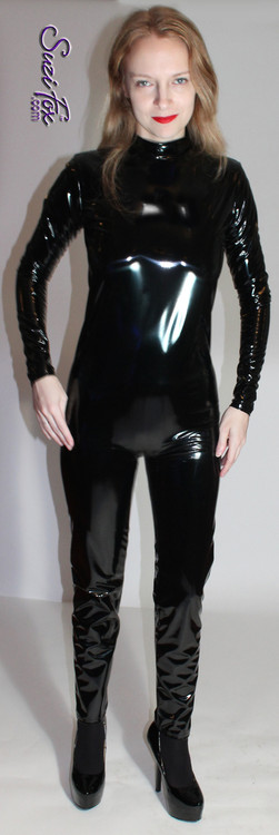 Custom Smooth Front (Back Zipper) Catsuit by Suzi Fox shown in Gloss Black Vinyl/PVC coated Nylon Spandex.  You can order this Catsuit in almost any fabric on this site.  • Available in black, red, white, light pink, neon pink, fuchsia, purple, royal blue, navy blue, turquoise, black matte (no shine), white matte (no shine) stretch vinyl coated spandex. • Optional 1 or 2 slider crotch zipper (these are visible in a back zipper catsuit) • Optional wrist zippers • Optional ankle zippers • Optional finger loops • Optional rear patch pockets • Made in the U.S.A.