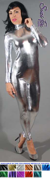 Custom Smooth Front (Back Zipper) Catsuit by Suzi Fox shown in Silver Metallic Foil coated Nylon Spandex.  You can order this Catsuit in almost any fabric on this site.  • Available in gold, silver, copper, royal blue, purple, turquoise, red, green, fuchsia, gunmetal, black faux leather/rubber look. • Optional wrist zippers • Optional ankle zippers • Optional finger loops • Optional rear patch pockets • Made in the U.S.A.