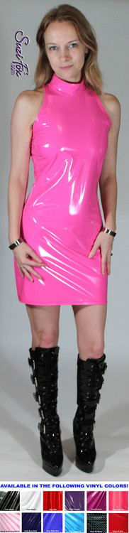 Open Shoulder Mini Dress in Shiny Gloss Neon Pink Vinyl/PVC Spandex by Suzi Fox. Zipper in the back. Choose any fabric on this site! Available in black, white, red, navy blue, royal blue, turquoise, purple, fuchsia, neon pink, light pink, matte black (no shine), matte white (no shine) stretch vinyl/PVC coated nylon spandex. Made in the U.S.A.