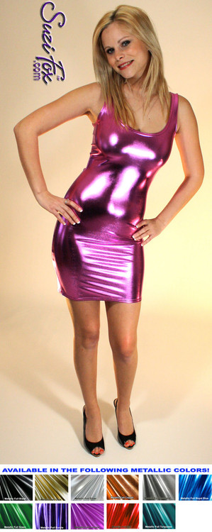 Tank Mini Dress in Fuchsia Metallic Foil coated Spandex by Suzi Fox. Choose any fabric on this site! Available in black metallic faux leather/rubber, gold, silver, copper, royal blue, purple, turquoise, red, green, fuchsia, gun metal metallic foil coated nylon spandex. • Optional 2-slider zipper going the length of the dress, front or back, unzip from the top of the bottom! Made in the U.S.A.
