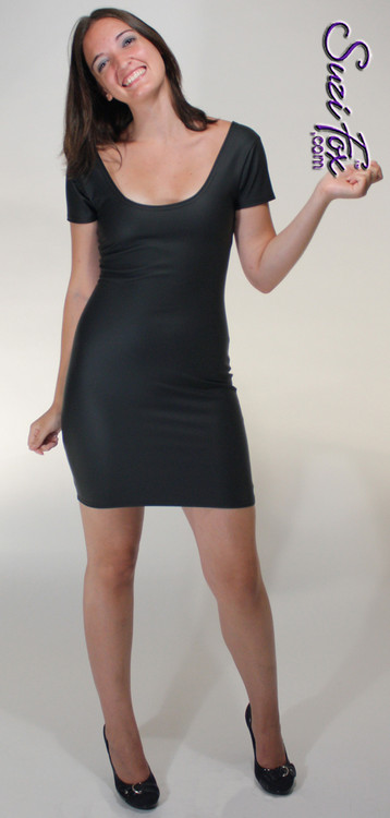 Scoop Neck, Short Sleeved Mini Dress in Black Matte (no shine) Vinyl/PVC Spandex, custom made by Suzi Fox. Choose any fabric on this site! Available in matte black (no shine), matte white (no shine); gloss black, white, red, navy blue, royal blue, turquoise, purple, fuchsia, neon pink, light pink, stretch vinyl/PVC coated nylon spandex. • Optional wrist zippers. Made in the U.S.A.