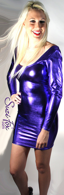 Scoop Neck, Long Sleeved Mini Dress in Purple Metallic Foil Spandex, custom made by Suzi Fox. Choose any fabric on this site! Custom made to your measurements. Available in gold, silver, copper, royal blue, purple, turquoise, red, green, fuchsia, gun metal, black metallic foil leather/rubber coated nylon spandex. • Optional wrist zippers. Made in the U.S.A.