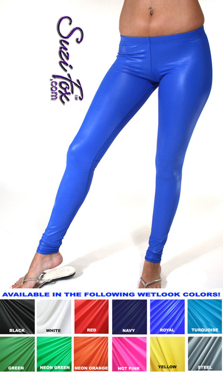 Womens Leggings shown in Royal Blue Wet Look Lycra Spandex, custom made by Suzi Fox. You can order this in almost any fabric on this site.  • Custom made to your measurements! • Available in black white, red, navy blue, royal blue, turquoise, hot pink, lime green, green, yellow, neon orange, steel gray. lycra spandex. This is a 4-way stretch fabric with a medium shine. Very comfortable! • 1 inch elastic at the waist. • Optional 1 or 2-slider crotch zipper. • Optional ankle zippers • Optional rear patch pockets • Optional belt loops • Made in the U.S.A.
