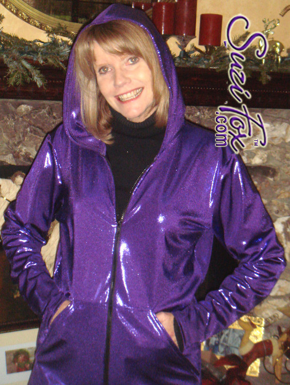 Womens Hoodie in glittering Purple Metallic Mystique coated Spandex, custom made by Suzi Fox. Custom made to your measurements! Choose any fabric on this site! Available in black, red, turquoise, ,green, purple, royal blue, hot pink/fuchsia, silver, copper, gold. • Choose the zipper. • Optional wrist zippers. Made in the U.S.A.