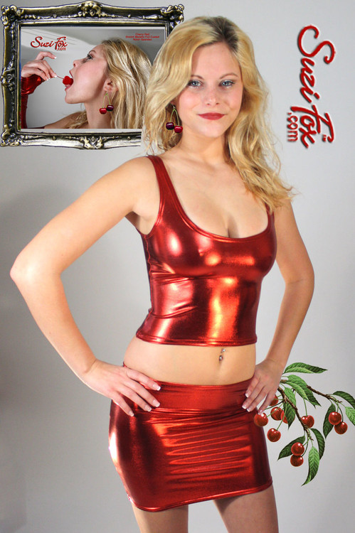Tank Top shown in Red Metallic Foil coated Spandex, custom made by Suzi Fox. Custom made to your measurements! Available in gold, silver, copper, gunmetal, turquoise, Royal blue, red, green, purple, fuchsia, black faux leather/rubber, and any other fabric on this site. Made in the U.S.A.
