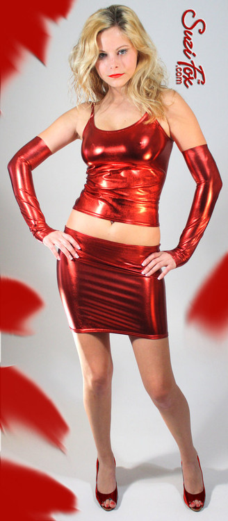 Hiphugger Micro Mini Skirt shown in Red Metallic Foil coated Spandex, custom made by Suzi Fox. Custom made to your measurements! Available in gold, silver, copper, gunmetal, turquoise, Royal blue, red, green, purple, fuchsia, black faux leather/rubber, and any other fabric on this site. Made in the U.S.A.