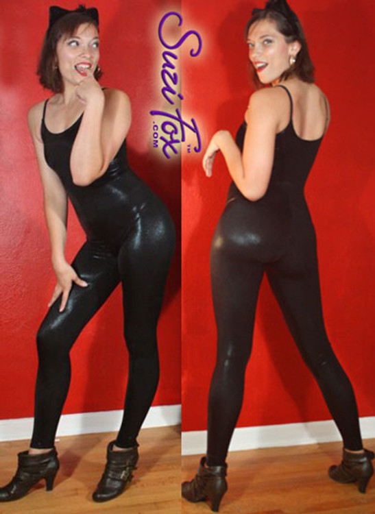Womens Camisole Catsuit shown in glittering Black Metallic Mystique spandex, custom made by Suzi Fox. Custom made to your measurements! • Spaghetti straps. • Available in black, red, turquoise, green, purple, royal blue, hot pink/fuchsia, silver, copper, gold Metallic Mystique spandex, and any fabric on this site. • Optional ankle zippers. • Made in the U.S.A.