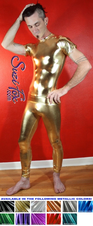 Mens Hiphugger Leggings shown in Gold Metallic Foil coated Spandex, custom made by Suzi Fox. Custom made to your measurements! • Available in gold, silver, copper, gunmetal, turquoise, Royal blue, red, green, purple, fuchsia, black faux leather/rubber Metallic Foil and any fabric on this site. • 1 inch no-roll elastic at the waist. • Optional 1 or 2-slider crotch zipper. • Choose your ankle size - tight ankles, jean cut, boot cut, or bellbottom. • Optional ankle zippers. • Optional belt loops. • Optional rear patch pockets. Made in the U.S.A.