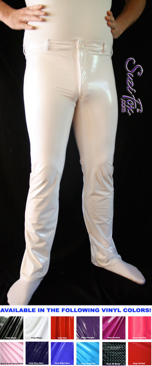 Mens Jean style Pants shown in Gloss White  Vinyl/PVC Spandex, custom made by Suzi Fox. Custom made to your measurements! • Front fly zipper, and waistband. • Available in gloss black, white, red, navy blue, royal blue, turquoise, purple, Neon Pink, fuchsia, light pink, matte black (no shine), matte white (no shine), black 3D Prism, red 3D Prism, Turquoise 3D Prism, Baby Blue 3D Prism, Hot Pink 3D Prism Vinyl and any fabric on this site. • Choose your ankle size - tight ankles, jean cut, boot cut, or bellbottom. • Optional ankle zippers. • Optional belt loops. • Optional rear patch pockets. Made in the U.S.A.