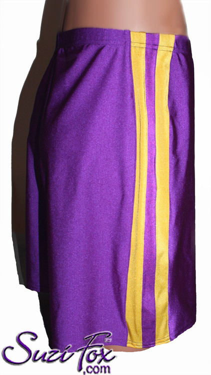 Mens Basketball or Board shorts shown in Purple and Athletic Gold Milliskin Tricot Spandex, custom made by Suzi Fox. • Available in black, white, red, royal blue, sky blue, turquoise, purple, green, neon green, hunter green, neon pink, neon orange, athletic gold, lemon yellow, steel gray Miilliskin Tricot spandex and any fabric on this site. • 1 inch no-roll elastic at the waist. • Optional belt loops. • Optional rear patch pockets. • Optional drawstring. • Made in the U.S.A.