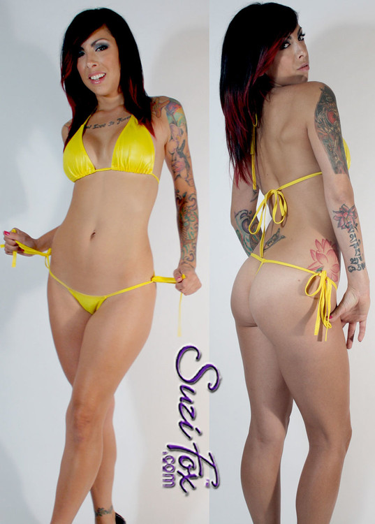 Womens Side Tie, Micro G-string Thong shown in Yellow Wet Look lycra Spandex, custom made by Suzi Fox. • Custom made to your measurements. • Available in black, white, red, turquoise, navy blue, royal blue, hot pink, lime green, green, yellow, steel gray, neon orange Wet Look, and any fabric on this site. • Top sold separately. (T1 top shown) • Made in the U.S.A.