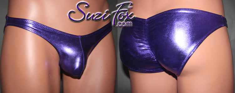 Mens Pouch Front, Wide Strap, Gathered Full coverage Rear Bikini - shown in Purple Metallic Foil Spandex, custom made by Suzi Fox. • Gathered rear accentuates the butt! • Available in gold, silver, copper, gunmetal, turquoise, Royal blue, red, green, purple, fuchsia, black faux leather/rubber Metallic Foil or any fabric on this site. • Standard front height is 7 inches (17.8 cm). • Available in 4, 5, 6, 7, 8, 9, and 10 inch front heights. • Wear it as swimwear OR underwear! • Made in the U.S.A.