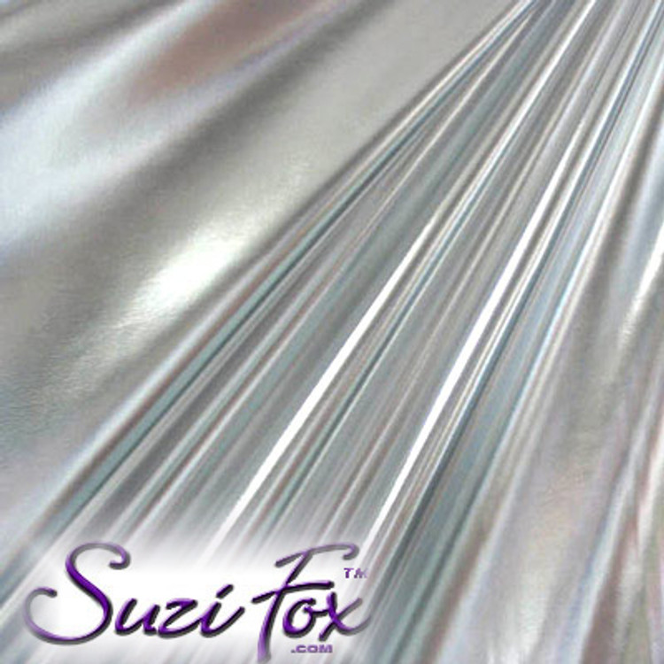 Fabric 3002. Silver Metallic Foil Coated Four Way Stretch Nylon Spandex. 80% Nylon, 20% Spandex. This is a 4-way stretch fabric that looks like silver aluminum foil but is stretchy! Black looks like faux leather or rubber.  Available in gold, silver, copper, gunmetal, turquoise, Royal blue, red, green, purple, fuchsia, black faux leather/rubber Metallic Foil.   Metallic will rub off if rubbed excessively. Foil will separate from spandex backing if worn too tight. Hand wash inside out in cold water, line dry. Iron inside out on low heat. Do not bleach.