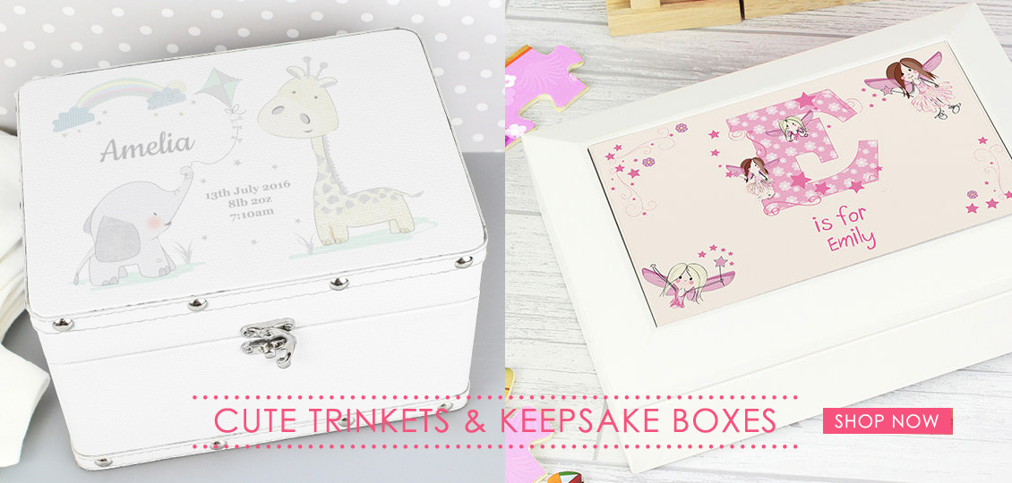 Personalised baby keepsakes boxes and jewellery boxes