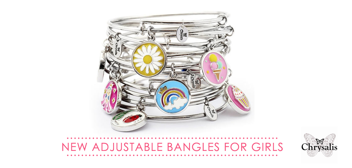 Chrysalis Wishes Silver Bangles for Girls