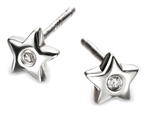 Girls Silver Diamond Star Earrings - D for Diamond