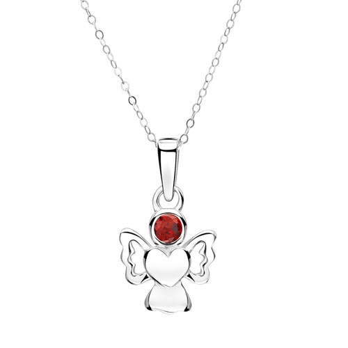 Girls January Birthstone Angel Pendant