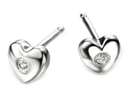 D for Diamond Silver Heart Stud Earrings - E572