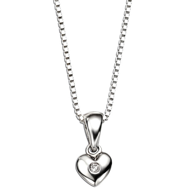 D for Diamond Heart Pendant on a 35cm Chain MpzoMZB