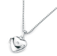 D for Diamond Silver Heart Locket Pendant - P2549