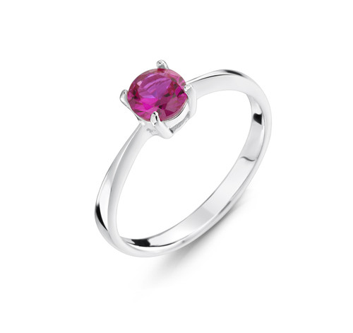 Girls Pink CZ Silver Ring
