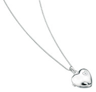 D for Diamond Engraved Heart Silver Locket (Engraveable) - P2548